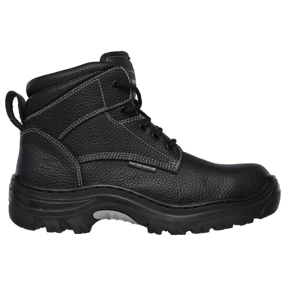 Skechers Men S Burgin 6 Work Boots Steel Toe Black Size 7 5 W 77143w 7 5 The Home Depot