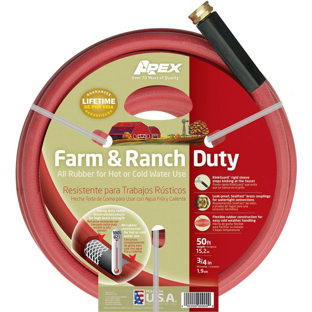 Apex 3/4 in. Dia x 50 ft. Red Rubber Farm and Ranch Hot Water Hose