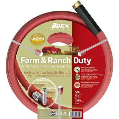 3/4 in. Dia x 50 ft. Red Rubber Farm and Ranch Hot Water Hose