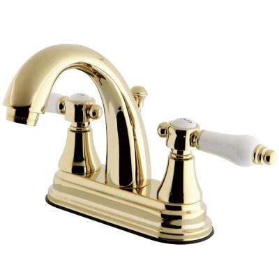 English Porcelain 4 in. Centerset 2-Handle High-Arc Bathroom Faucet in Polished Brass