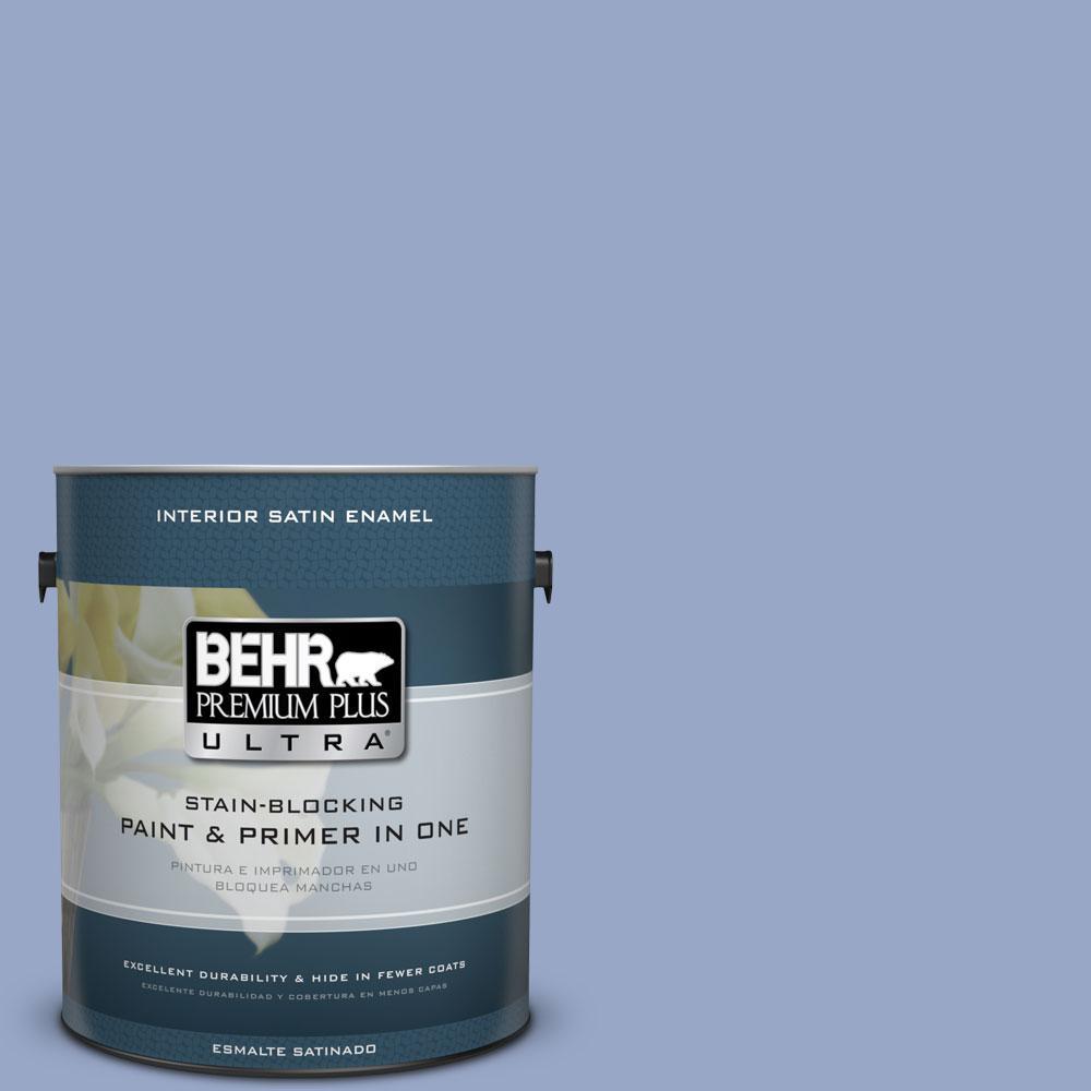 1-Gal. #PPU15-13 Blue Hydrangea Satin Enamel Interior Paint