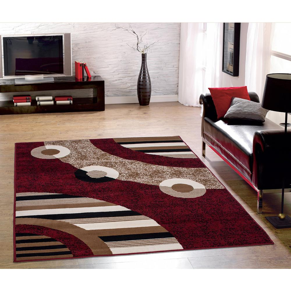 sweet home stores clifton collection modern circles design red 8 ft 8x10 Area Rugs