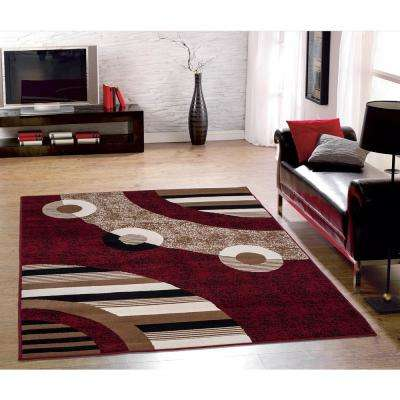 Clifton Collection Modern Circles Design Red 8 ft. x 10 ft. Area Rug