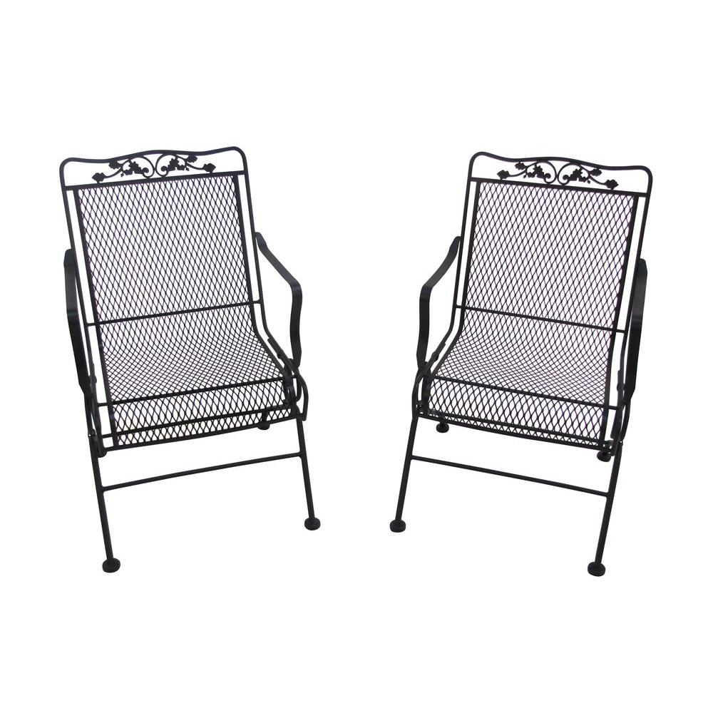 Arlington House Glenbrook Black Patio Action Chairs 2 Pack