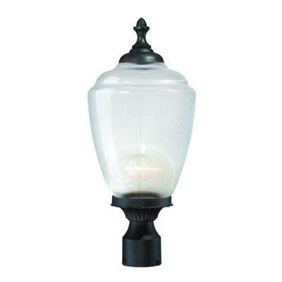 Acorn 1-Light Matte Black Outdoor Post-Mount Fixture