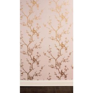 Cynthia Rowley Bird Watching Rose Pink And Gold Self Adhesive Removable Wallpaper
