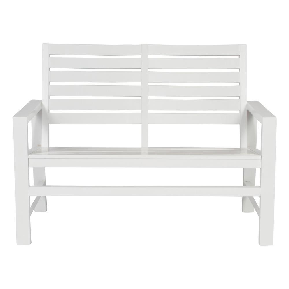 Contemporary Wood Outdoor Garden Bench 40 in. White