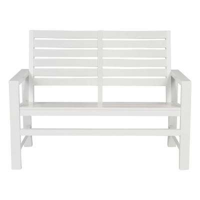 Contemporary Wood Outdoor Garden Bench 40 in. White