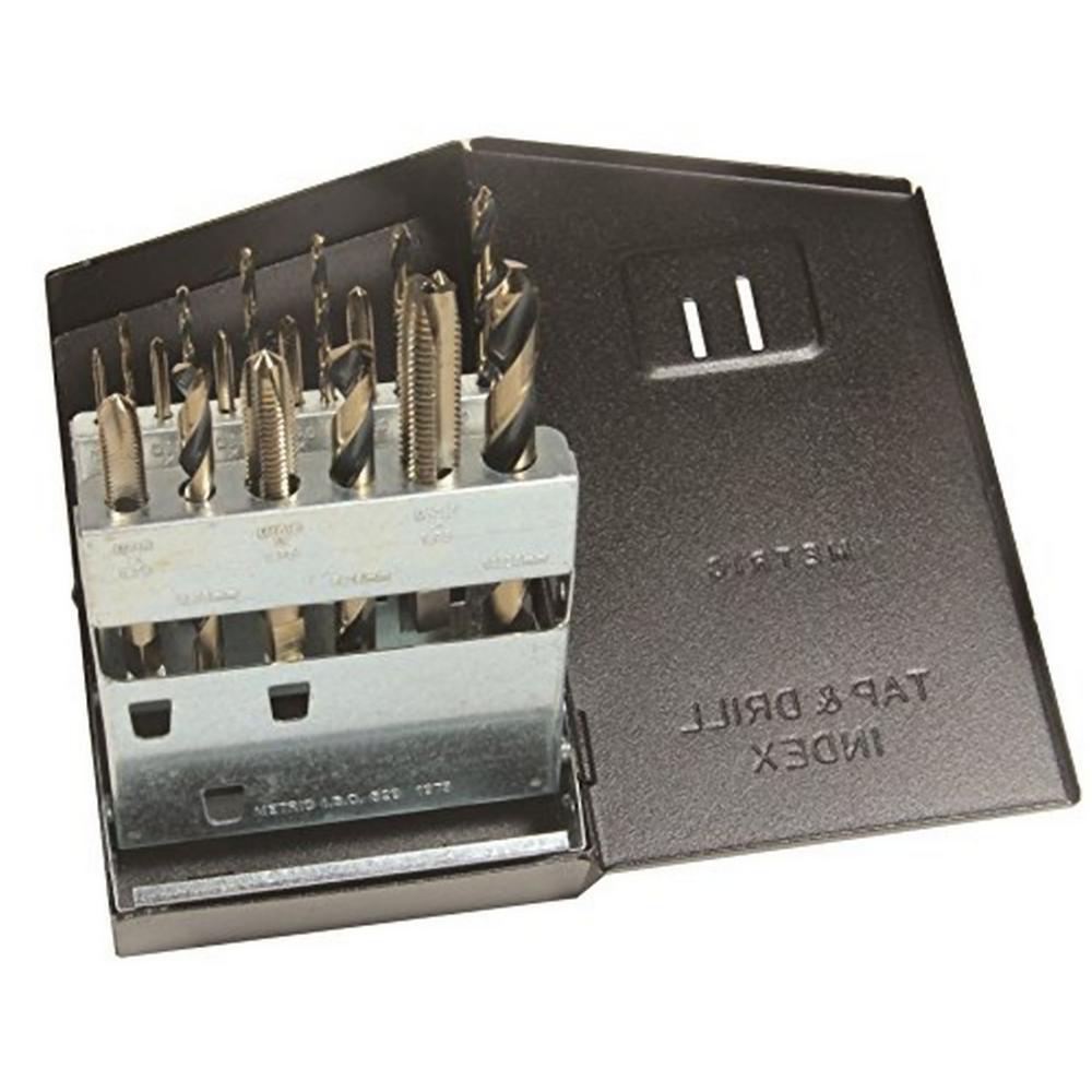 Super Premium Tungsten Spiral Point Plug Style Drill/Tap Set with Metal Case Metric (18-Piece)