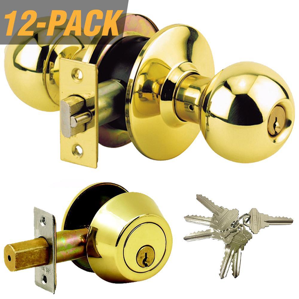 Brass Grade 3 Combo Lock Set with Entry Door Knob and Deadbolt, 72 SC1 Keys Total, (12-Pack, Keyed Alike)
