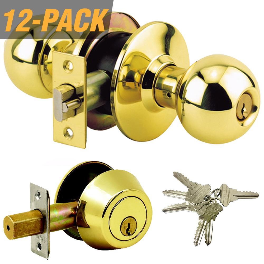 50b0a8a0dff6 Grip Tight Tools Brass Grade 3 Combo Lock Set with Entry Door Knob and  Deadbolt, 72 SC1 Keys Total, (12-Pack, Keyed Alike)
