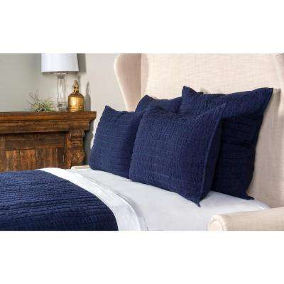 Heirloom Linen Quilted Navy Euro Sham 26x26