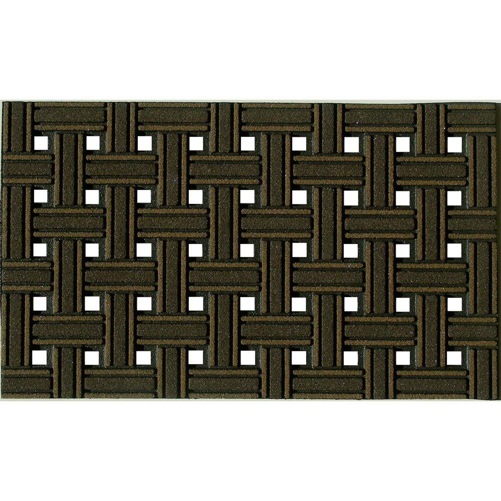 Apache Mills Apache Mills Weave Brown 18 in. x 30 in. Recycled Rubber Door Mat