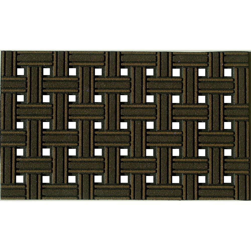 Weave Brown 18 in. x 30 in. Recycled Rubber Door Mat