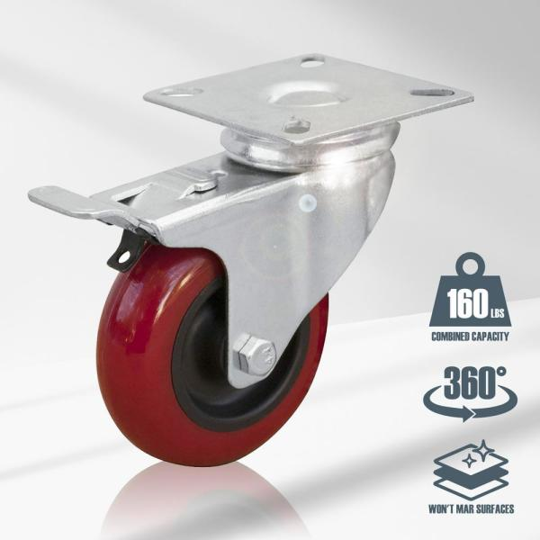 """4 Pack Caster Plate with Brake On Red Polyurethane Wheels 3/"""" w// brake"""