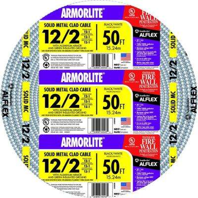 12/2 x 50 ft. Solid CU MC (Metal Clad) Armorlite Cable
