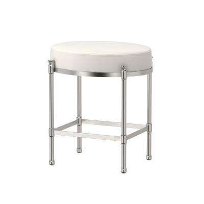 Oval 19.5 in. H Vanity Stool in Satin Nickel
