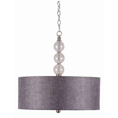 Maya 3-Light Brushed Steel with Clear Crackle Glass Ball Pendant