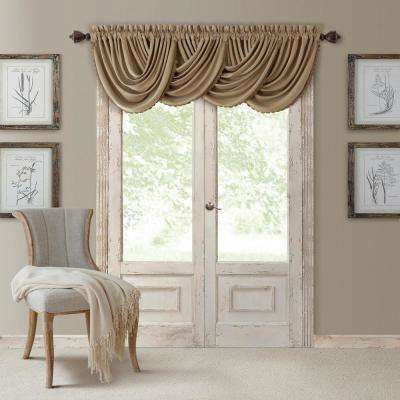 Blackout All Seasons 52 in. W x 36 in. L, Single Window Valance Blackout Rod Pocket Solid Valance, Antique Gold
