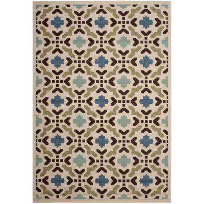 Veranda Cream/Aqua 4 ft. x 6 ft. Indoor/Outdoor Area Rug