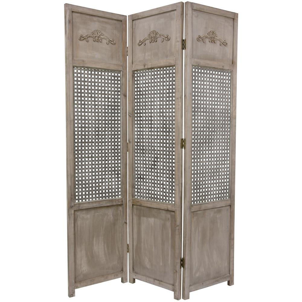 Oriental Unlimited 6 ft. Gray 3-Panel Open Mesh Room Divider