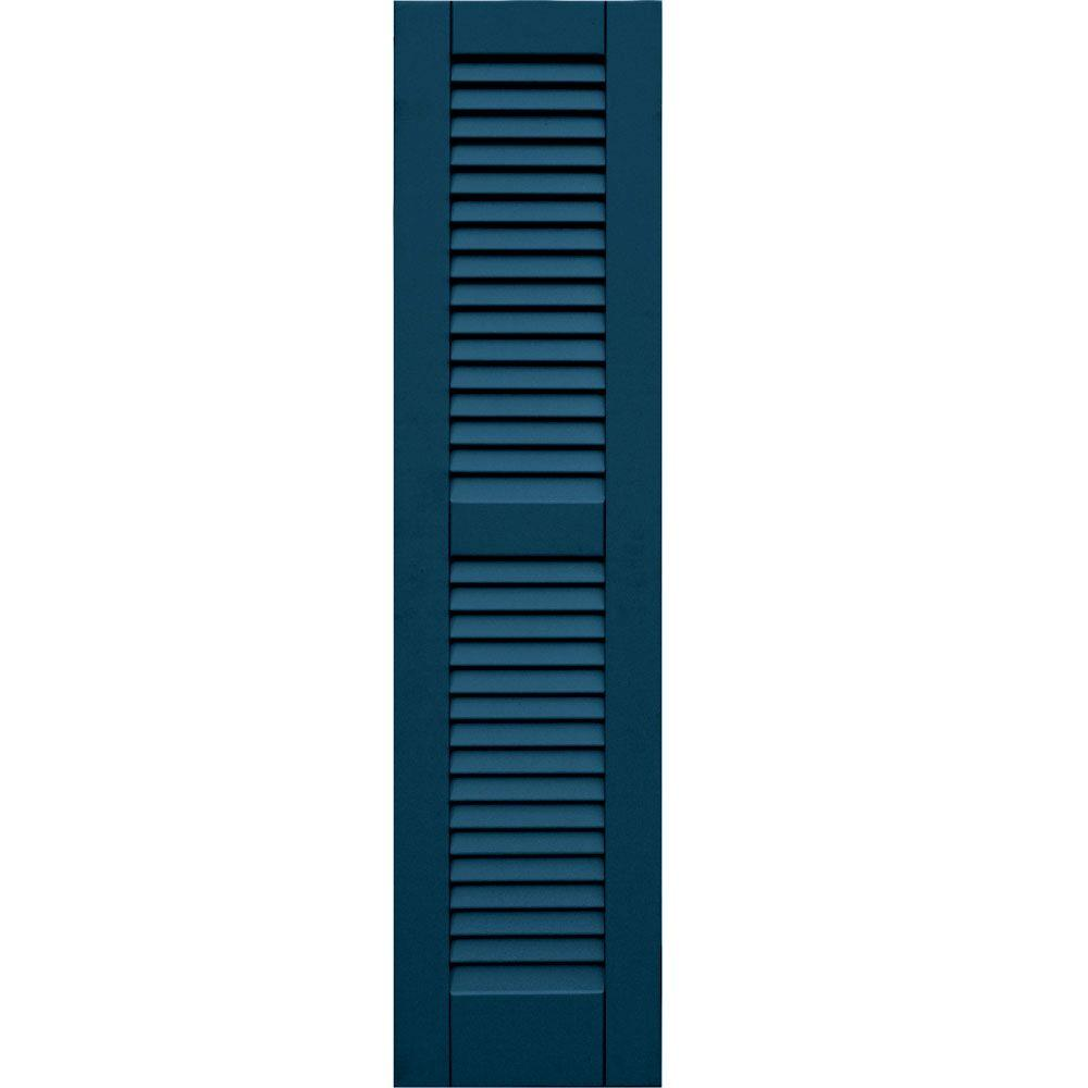 null Wood Composite 12 in. x 49 in. Louvered Shutters Pair #637 Deep Sea Blue