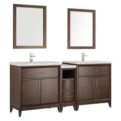 Cambridge 72 in. Vanity in Antique Coffee with Porcelain Vanity Top in White with White Ceramic Basins and Mirror