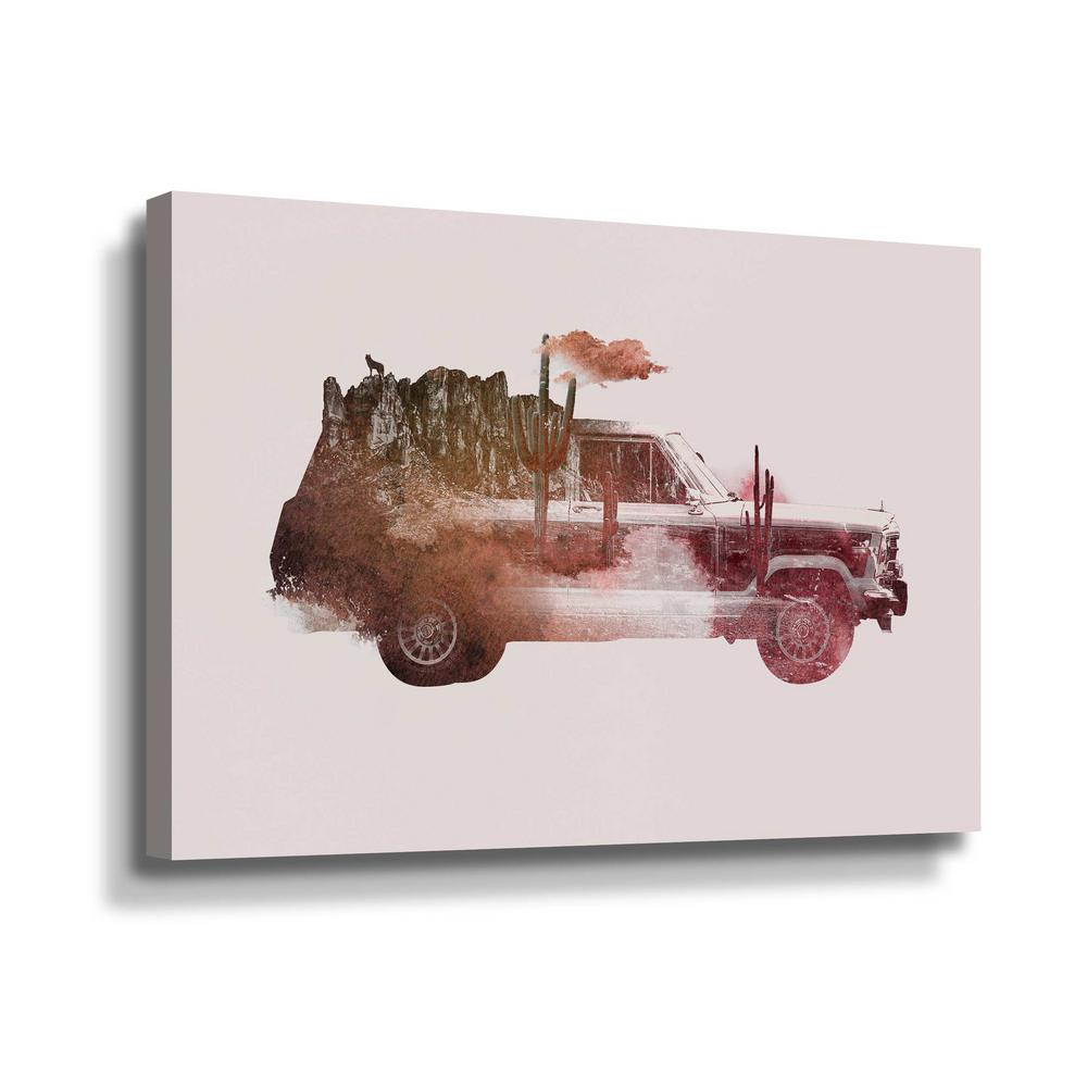 ArtWall 'Drive me back home no.2' by Robert Farkas Canvas Wall Art, Red This beautiful gallery wrapped canvas art is the perfect piece of wall decor for that bare wall. Display this gorgeous wall art decor in the living area with some brushed nickel sconces. Hang this artwork in the dining area for a wonderful conversation piece. Color: Red.