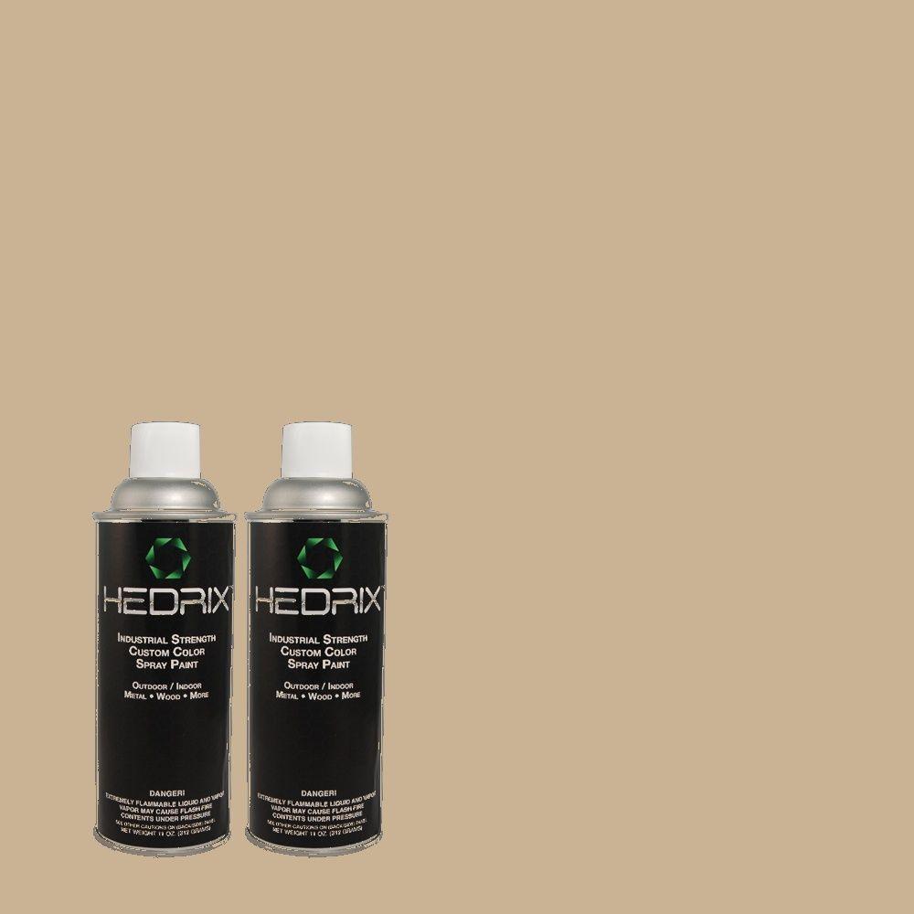 Hedrix 11 oz. Match of P-118 Stone Beige Flat Custom Spray Paint (2-Pack)