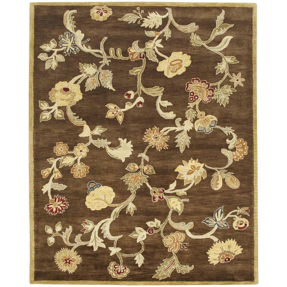 BASHIAN Wilshire Collection Floral Shower Chocolate 7 ft. 9 in. x 9 ft. 9 in. Area Rug