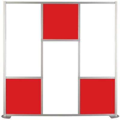 75-5/8 in. x 75-3/8 in. uDivide White and Red 6-Panel Room Divider