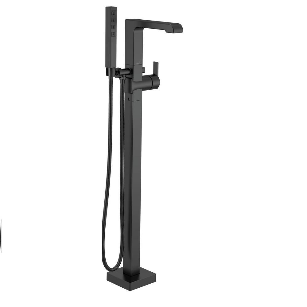 Ara 1-Handle Floor Mount Tub Filler Trim Kit with Handshower in Matte Black (Valve Not Included)