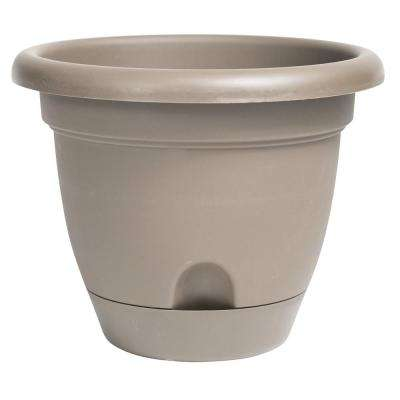 Lucca 10 in. x 8.75 in. Pebble Stone Plastic Self Watering Planter with Saucer