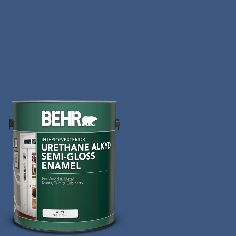 BEHR 1 gal  #M520-7 Admiral Blue Urethane Alkyd Semi-Gloss Enamel  Interior/Exterior Paint