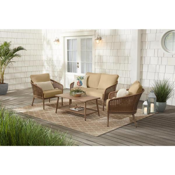 Coral Vista 4-Piece Brown Wicker and Steel Patio Conversation Seating Set with Sunbrella Beige Tan Cushions