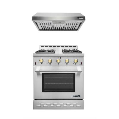 Entree Bundle 30 in. 4.5 cu.ft. Pro-Style Liquid Propane Gas Range Convection Oven and Hood in Stainless Steel and Gold