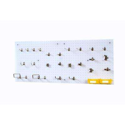 18 in. H x 22 in. W White Poly Wall Kit Pegboard Set with Hooks DuraBoards Mounting Kit and Bin Systems (84-Piece)