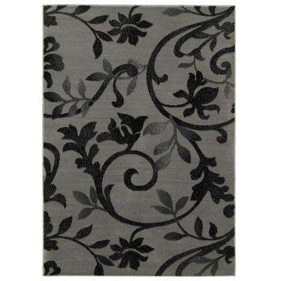 Grace Gray/Black 3 ft. 7 in. x 5 ft. 6 in. Plush Indoor Area Rug