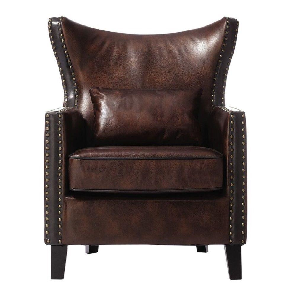 HomeDecoratorsCollection Home Decorators Collection Meloni Brown Bonded Leather Arm Chair, Bonded Leather Brown