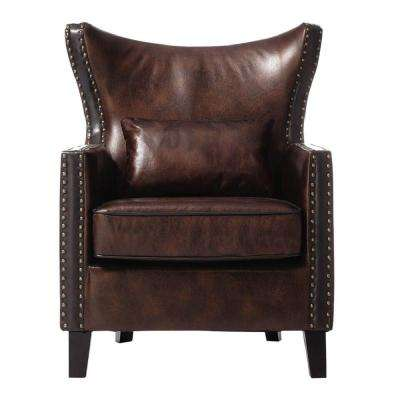 Meloni Brown Bonded Leather Arm Chair