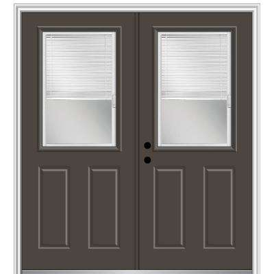 60 in. x 80 in. Internal Blinds Right-Hand Inswing 1/2-Lite Clear Glass 2-Panel Painted Steel Prehung Front Door