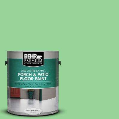 1 gal. #P390-4 Young Green Low-Lustre Interior/Exterior Porch and Patio Floor Paint