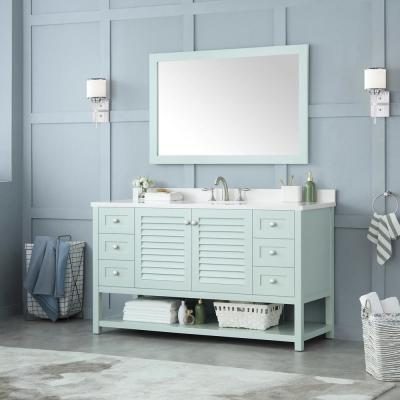 Grace 60 in. W x 22 in. D Bath Vanity in Minty Latte with Cultured Marble Vanity Top in White with White Basin