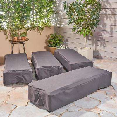 Shield Gray Fabric Chaise Lounge Cover (Set of 4)