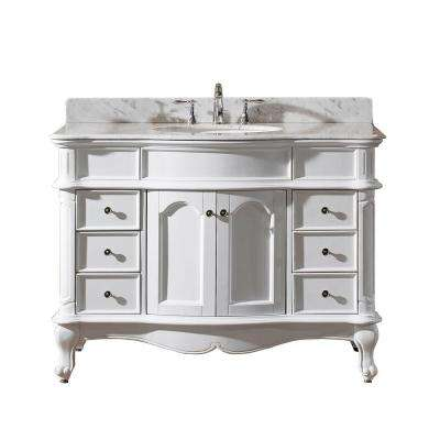 Norhaven 49 in. W Bath Vanity in White with Marble Vanity Top in White with Round Basin