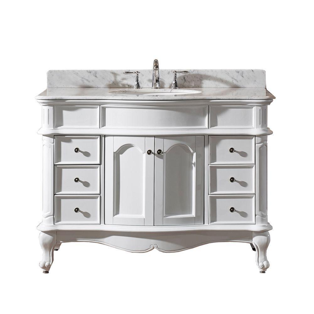 Norhaven 48 in. Vanity in White with Marble Vanity Top in Italian Carrara White