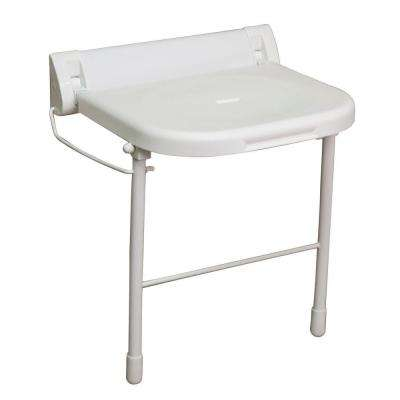 18 in. Wall Mount Folding Shower Seat with Legs in White