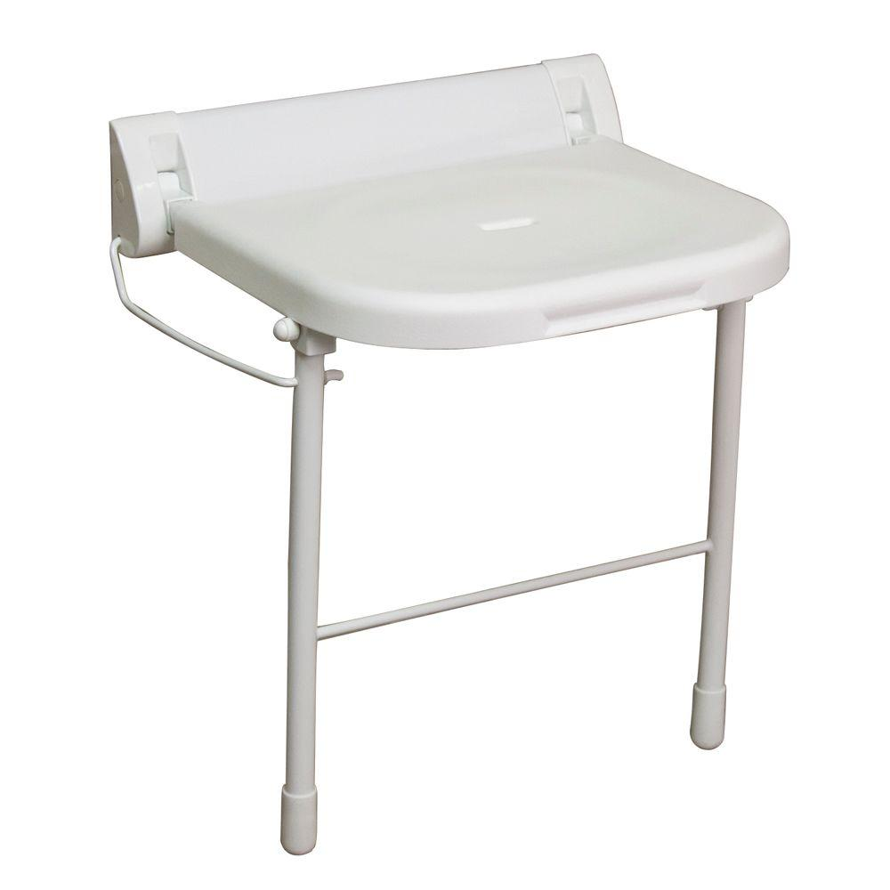 Wall Mount Folding Shower Seat With Legs In White