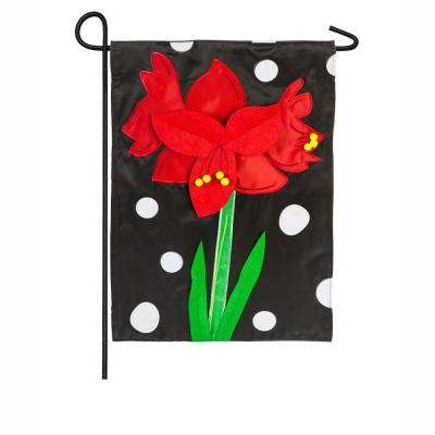 18 in. x 12.5 in. Polka Dot Amaryllis Garden Applique Flag