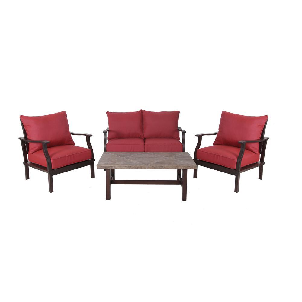Dayton 4-Piece Aluminum Patio Deep Seating Set with Sunbrella Chili Red Cushions